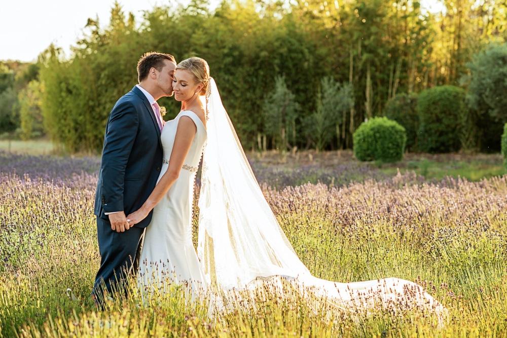 Le Mas de La Rose wedding portraits in lavender field