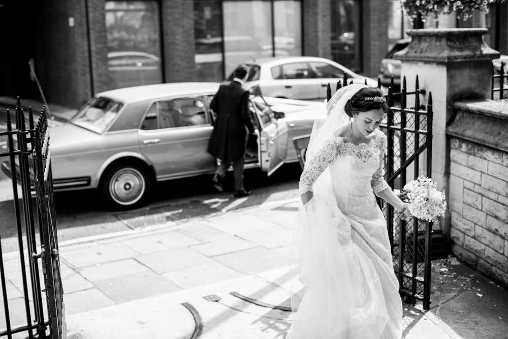 bride walking into St James Church London