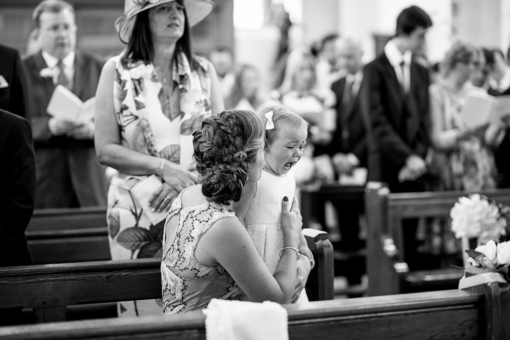 flower girl crying in church