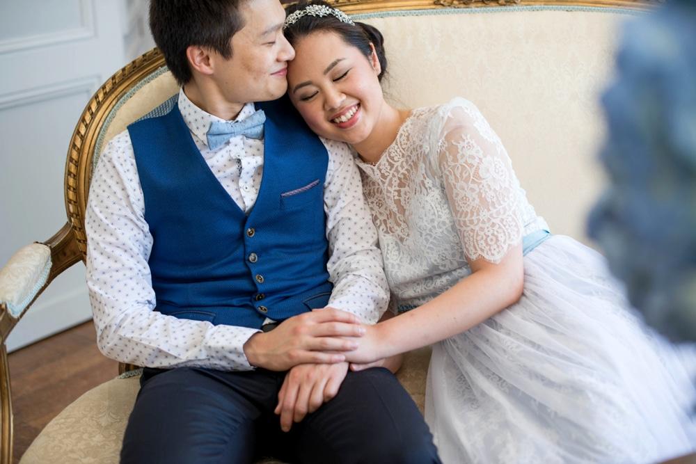 French wedding venue portrait of couple