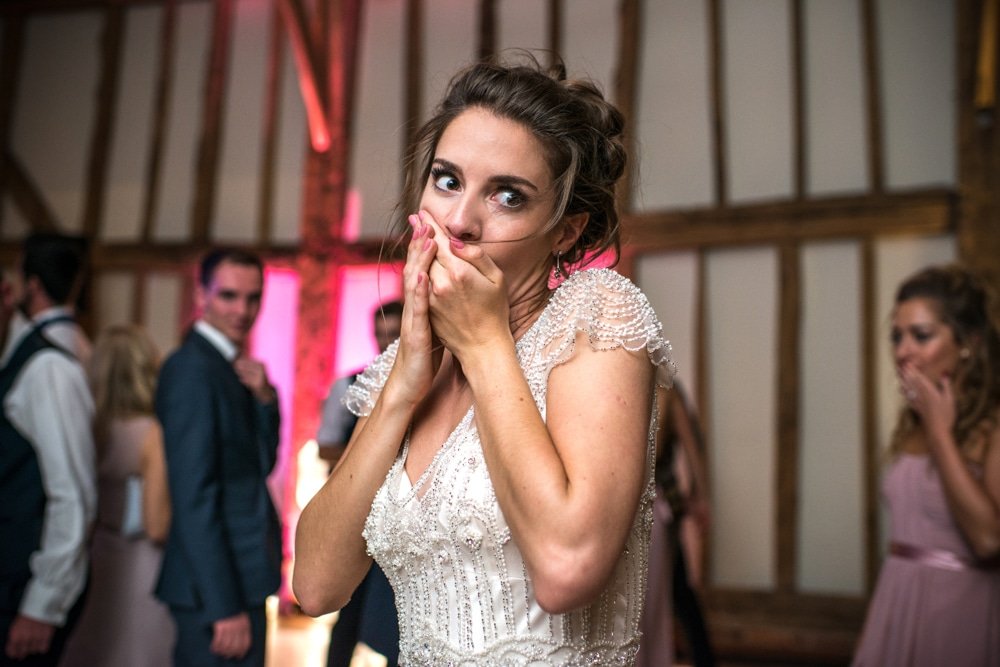 bride looking shocked