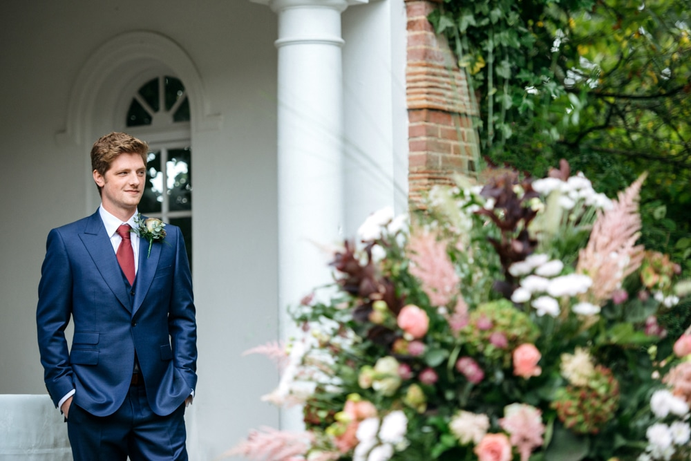groom waiting for his bride at Micklefield Hall
