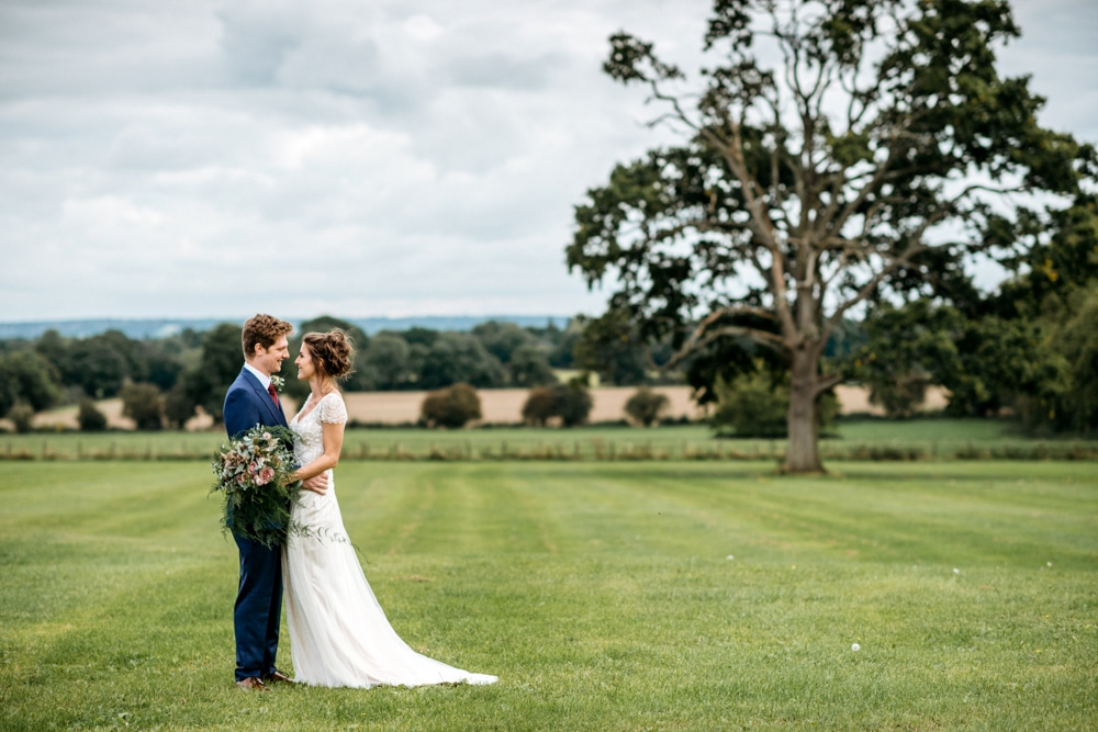Bride and groom portraits at Micklefield Hall