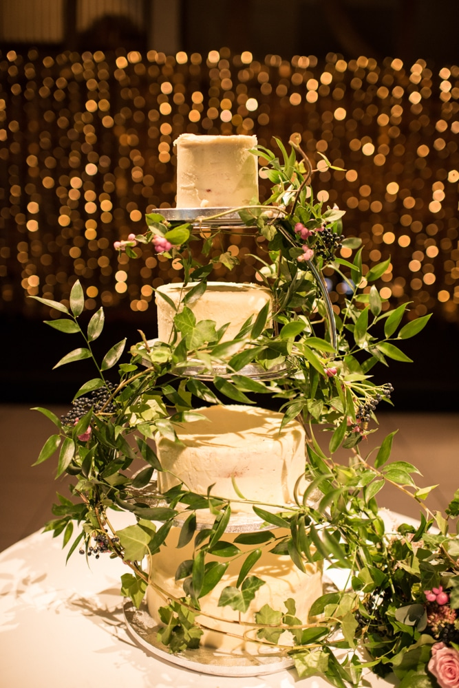 Wedding cake with bockeh lights behind