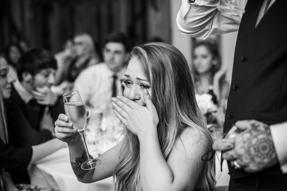 emotional guest at wedding