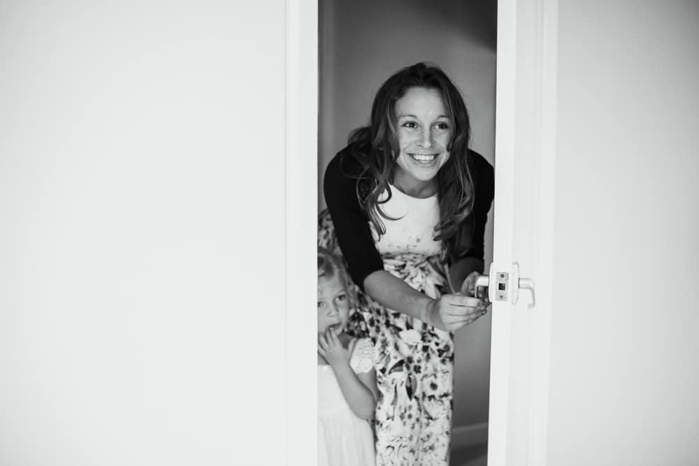 peeking through door