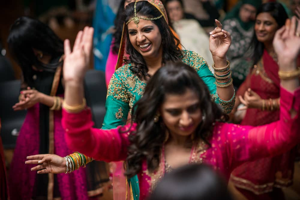 Bride dancing at Mehndi