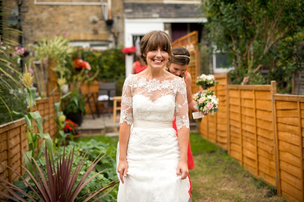 bride in her garden