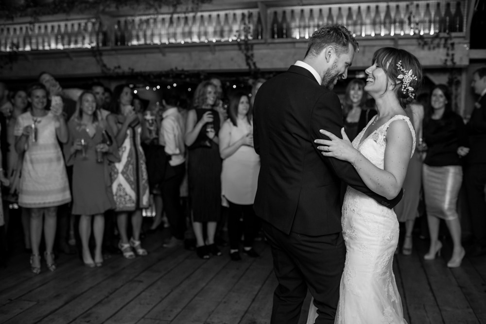 first dance at London Fields Brewery wedding