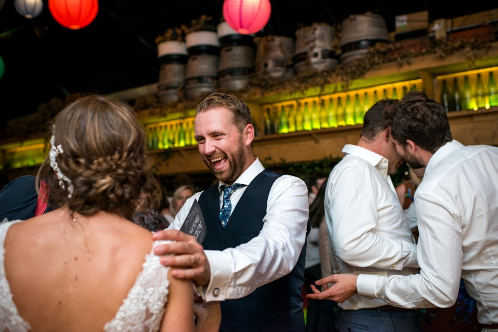 Groom on dance floor at London Fields Brewery wedding