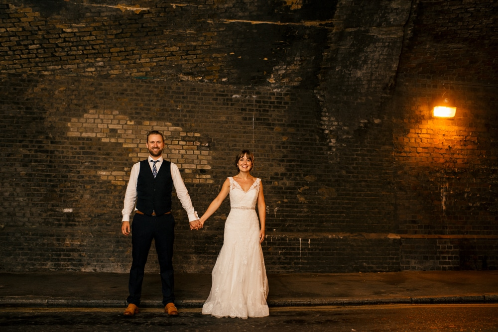 London Fields Brewhouse Wedding portrait under the arches