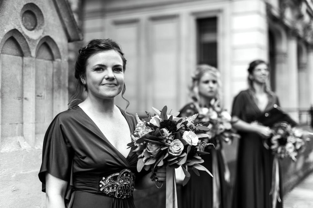 Bridesmaids waiting at church for bride
