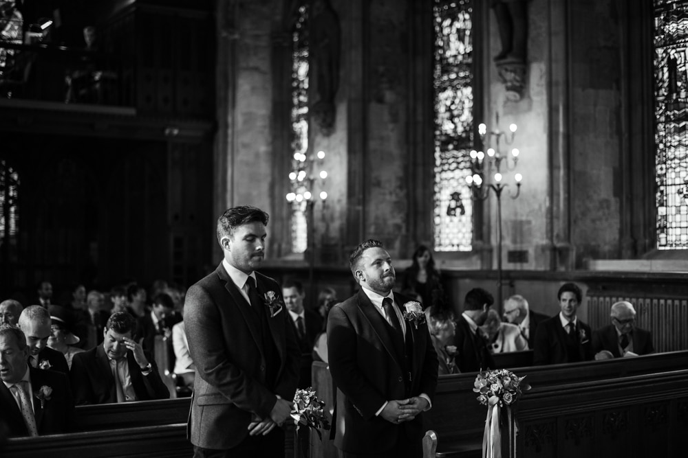 groom and best man in st etheldreda's church