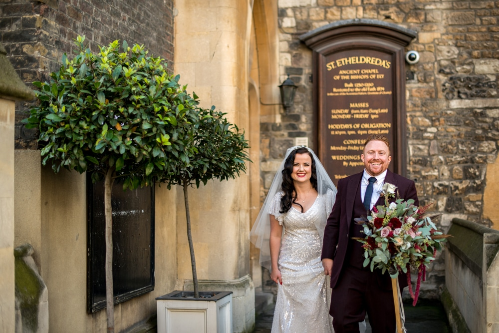 bride and groom outside st etheldreda's church London