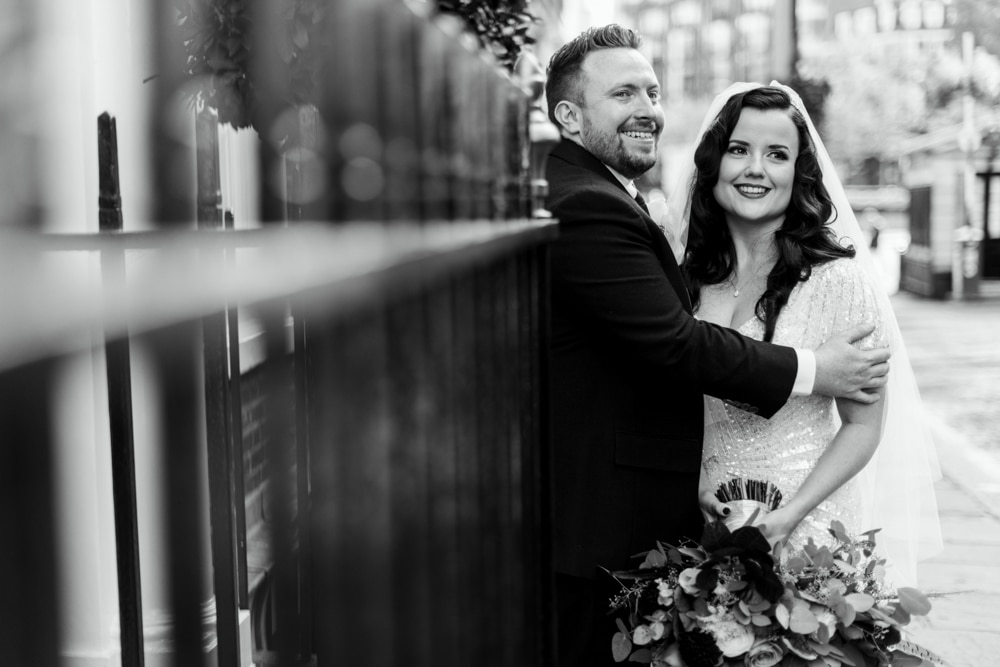 Portraits of bride and groom in London