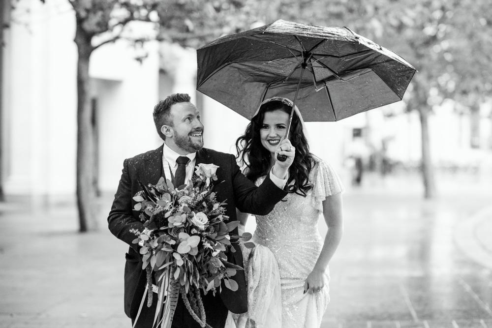 Rainy London wedding portraits