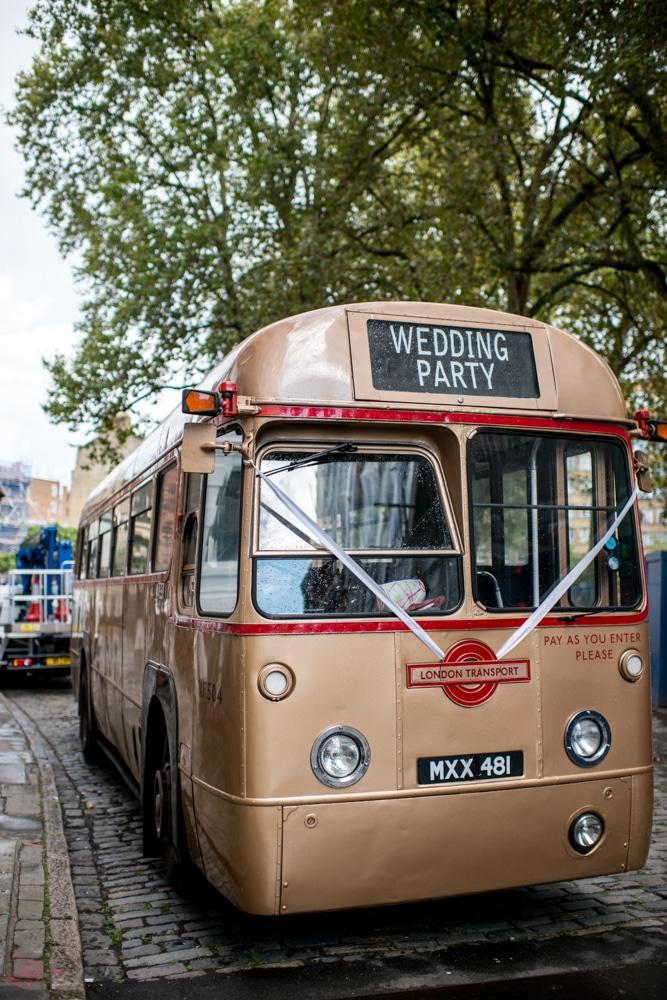 vintage London wedding bus
