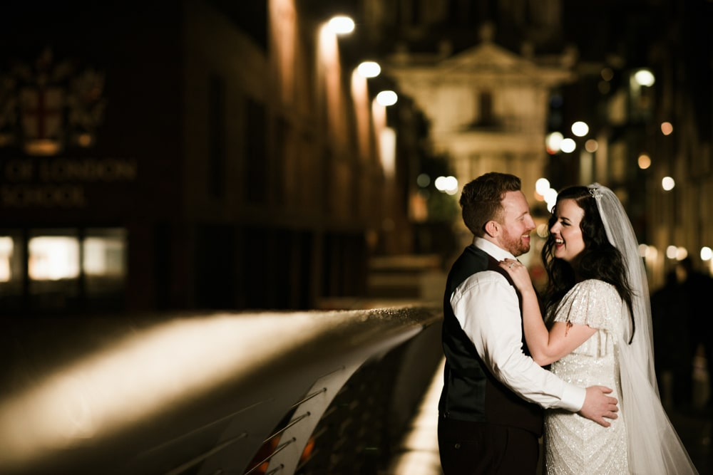 Portrait of bride and groom outside St Pauls Cathedral