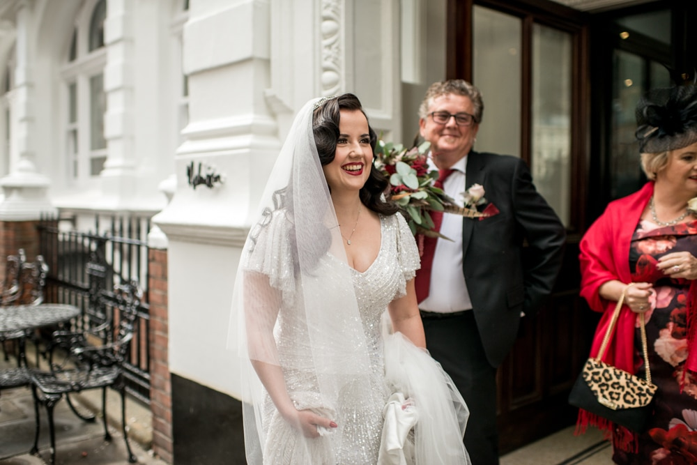 bride leaving Malmaison London