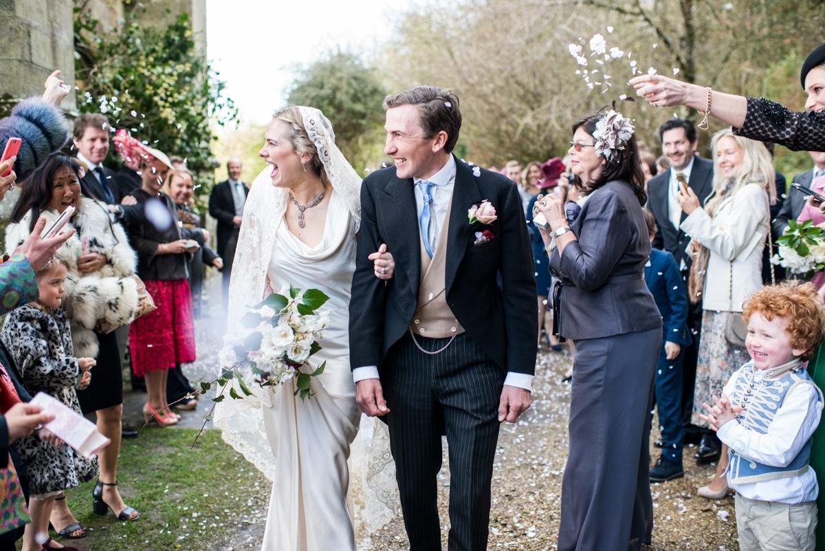 confetti and bride and groom