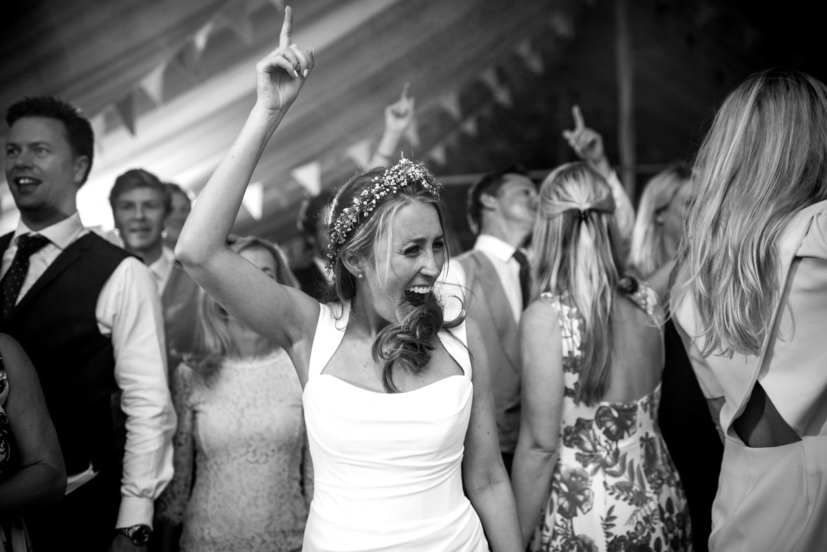 Bride letting loose on the dance floor