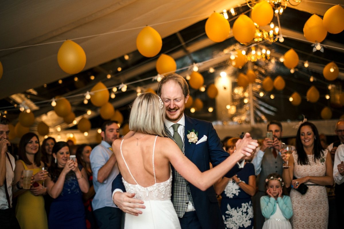 wedding marquee with yellow balloons