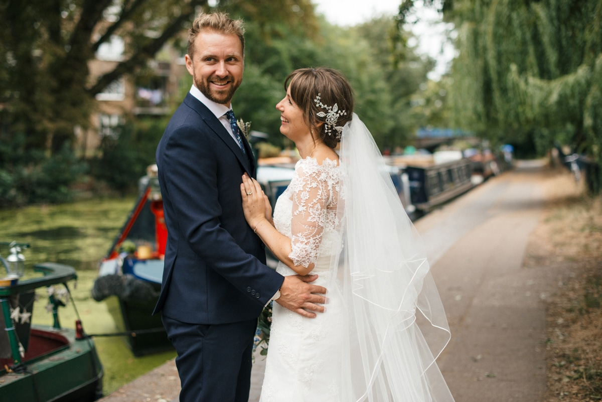 Bride and groom portrait in Victoria Park London