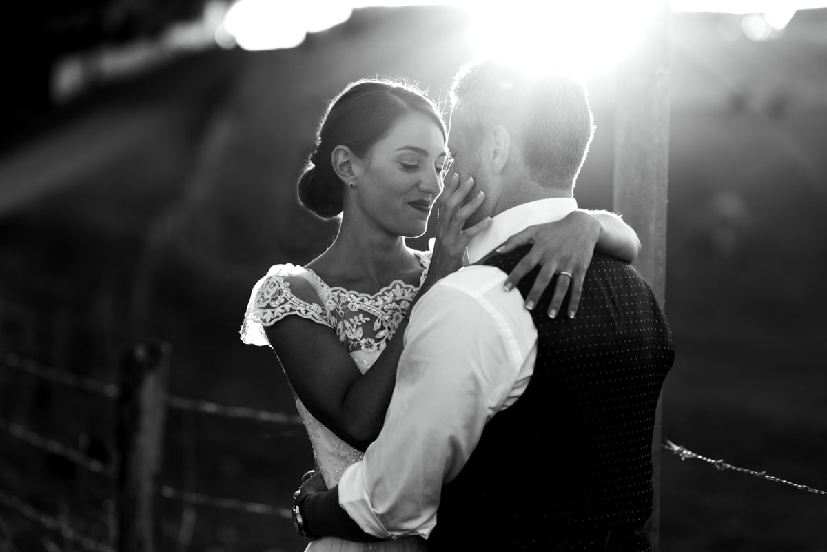Bride and groom portrait in france
