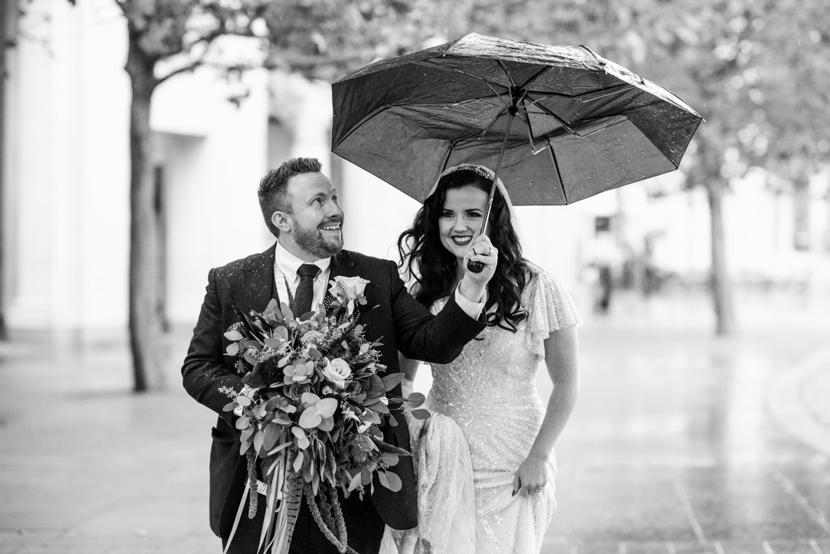 rainy London wedding photo