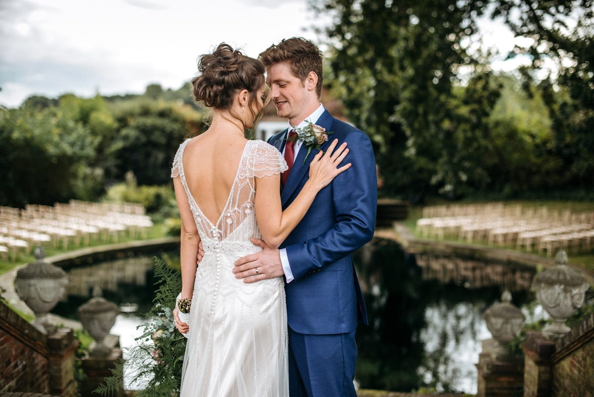 portrait of bride and groom at Micklefield Hall, Hertfordshire