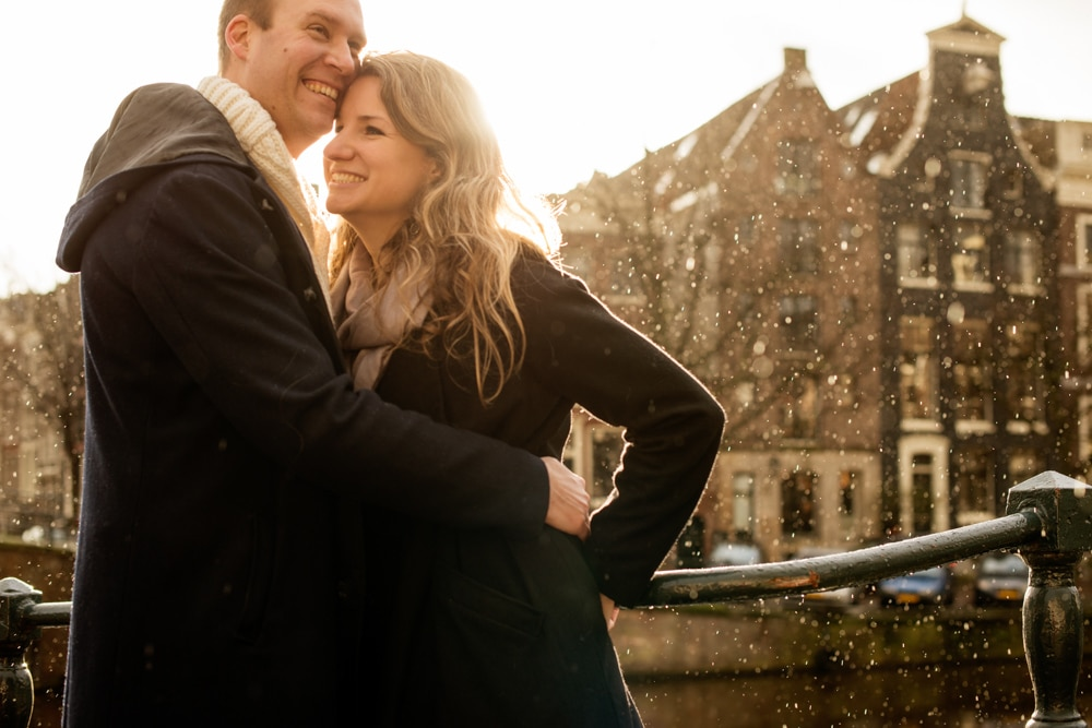 Amsterdam Engagement shoot in rain