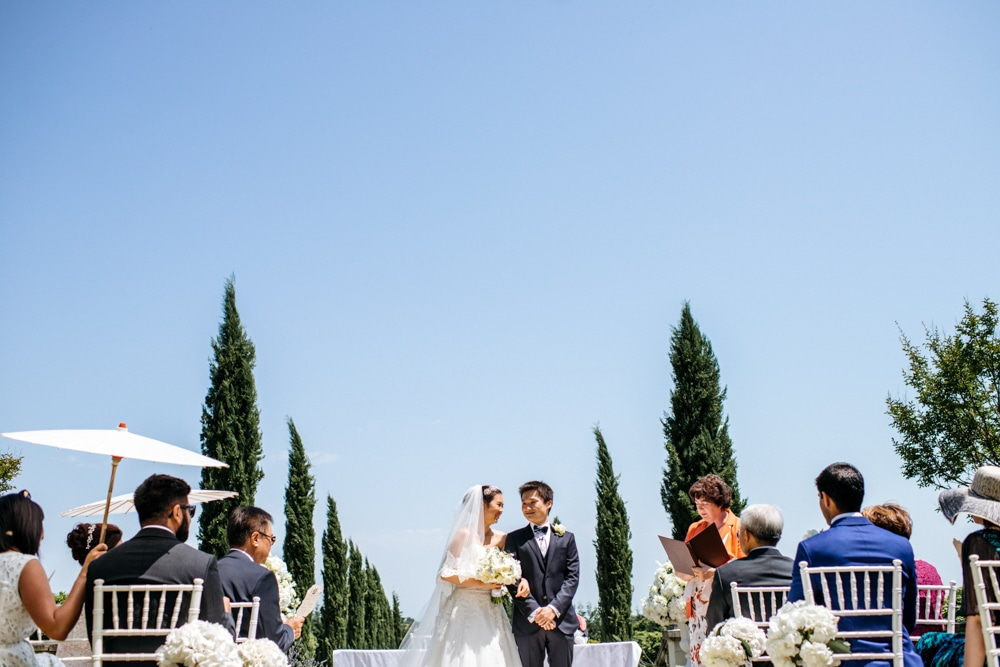 Outdoor ceremony at Chateau La Durantie