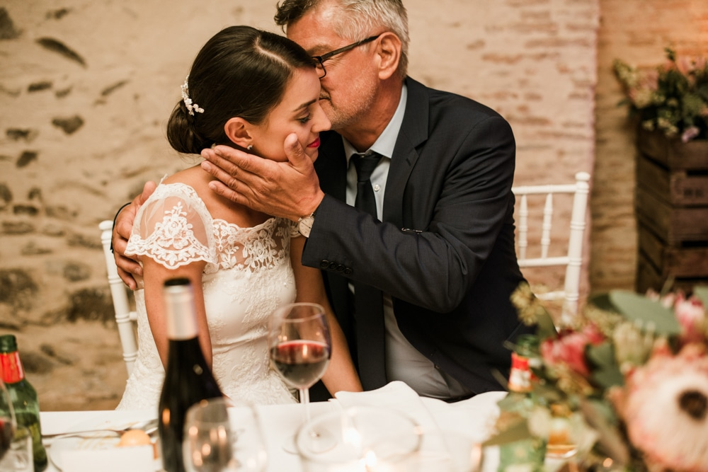 father of bride kissing brides cheek