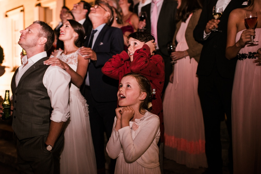 kids reaction to fireworks during wedding