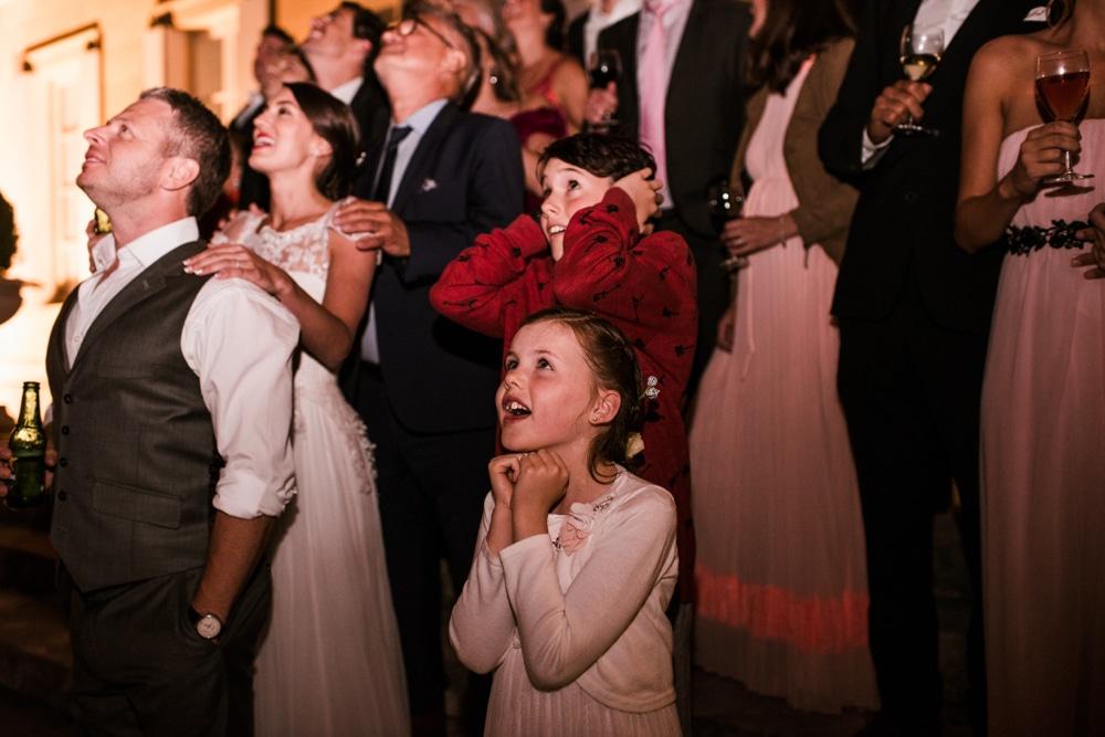 kids reaction to fireworks during wedding