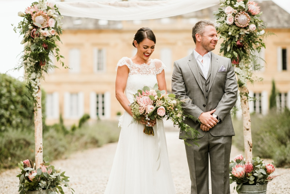 ceremony on the lawn at Chateau La Durantie