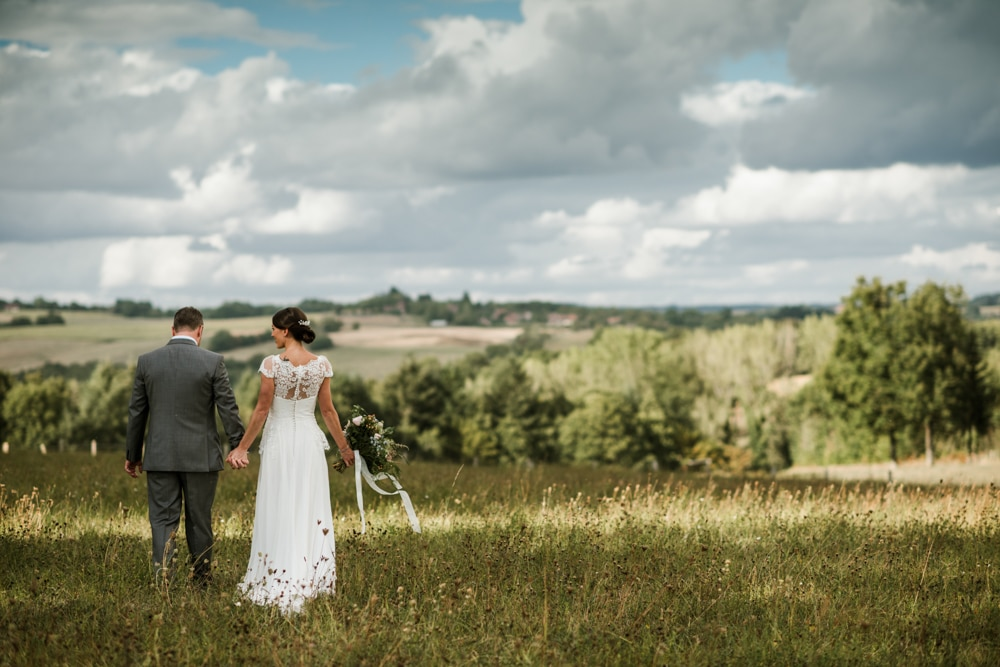 French wedding photography, couple in field
