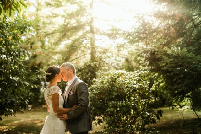 romantic light during wedding portrait session