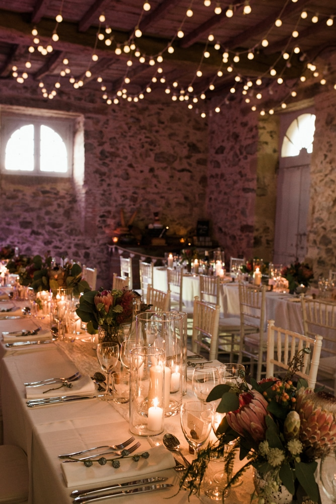wedding reception in barn at Chateau La Durantie