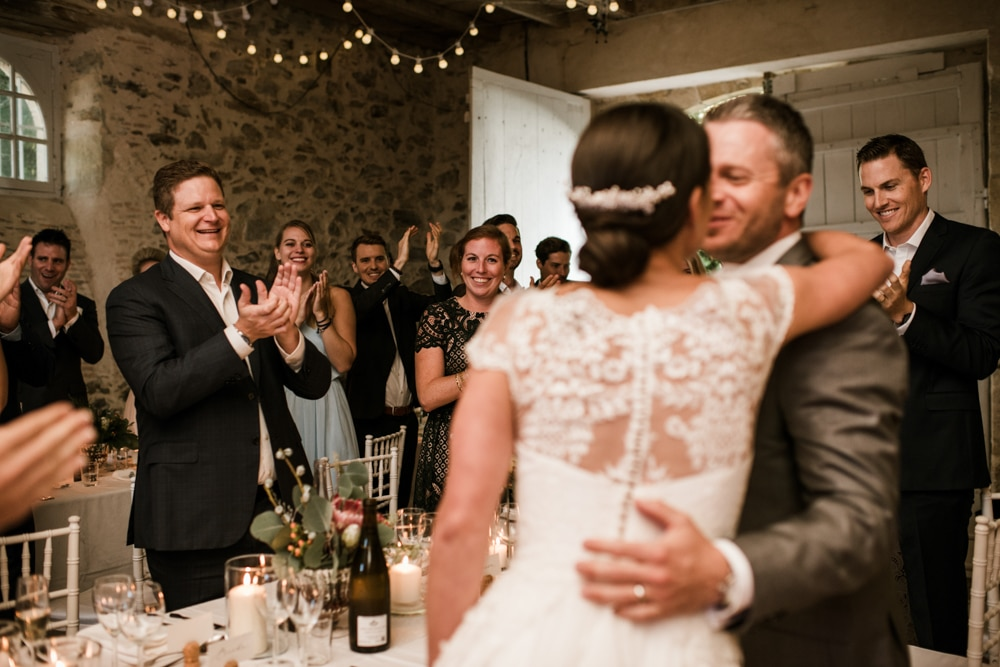 guests clapping at bride and grooms entrance