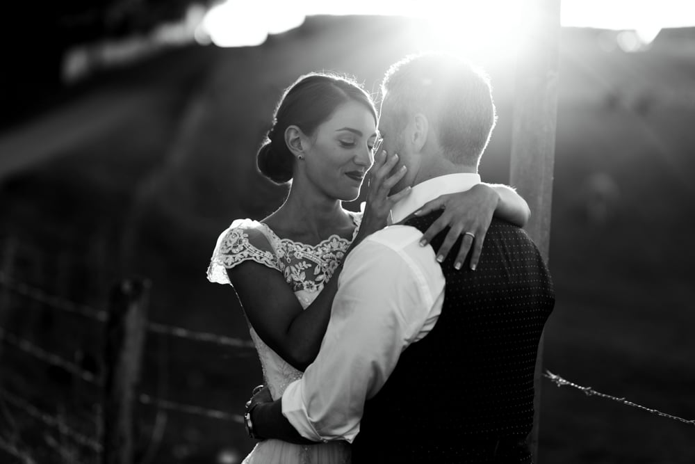 bride and groom during portrait session at Chateau La Durantie