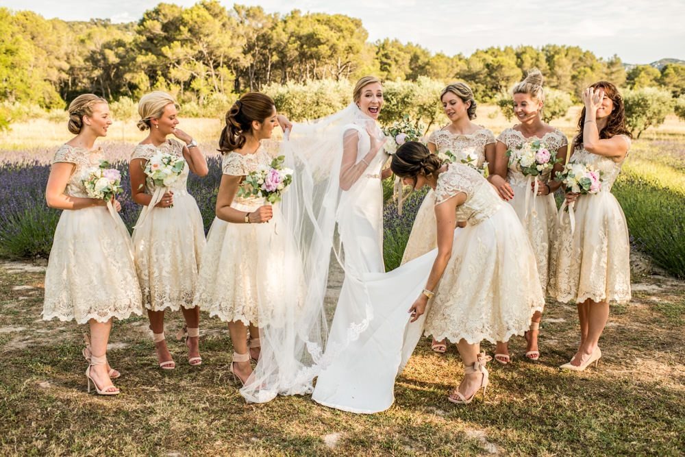 bridesmaids at Le Mas de La Rose wedding venue