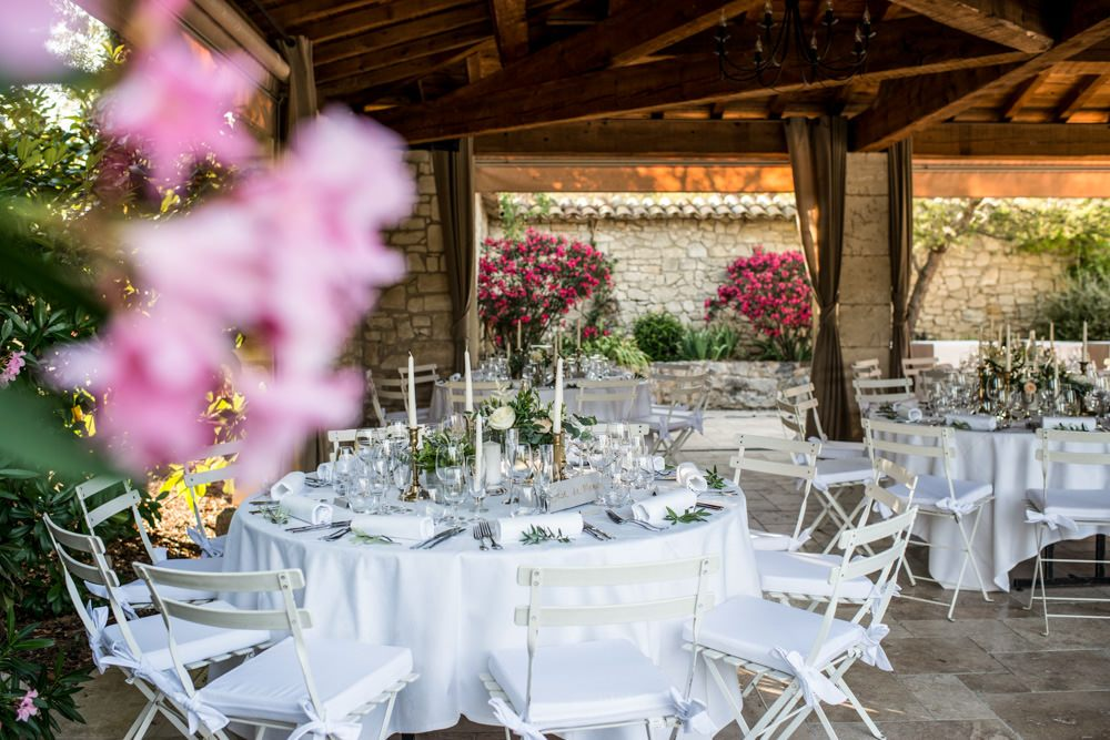 wedding breakfast area at Le Mas de La Rose france