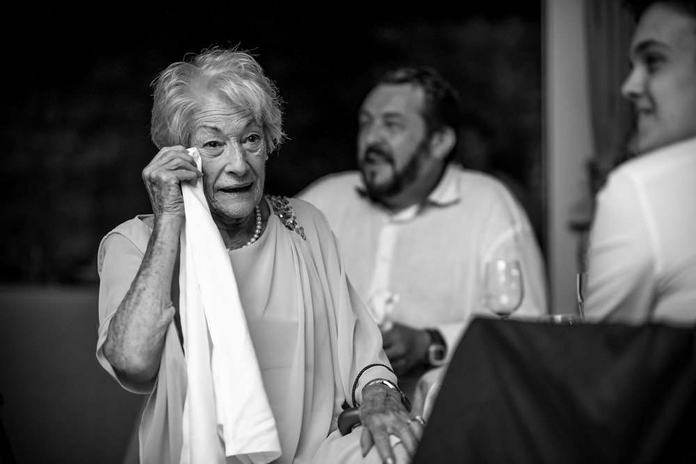 grandma at wedding with tears in her eyes