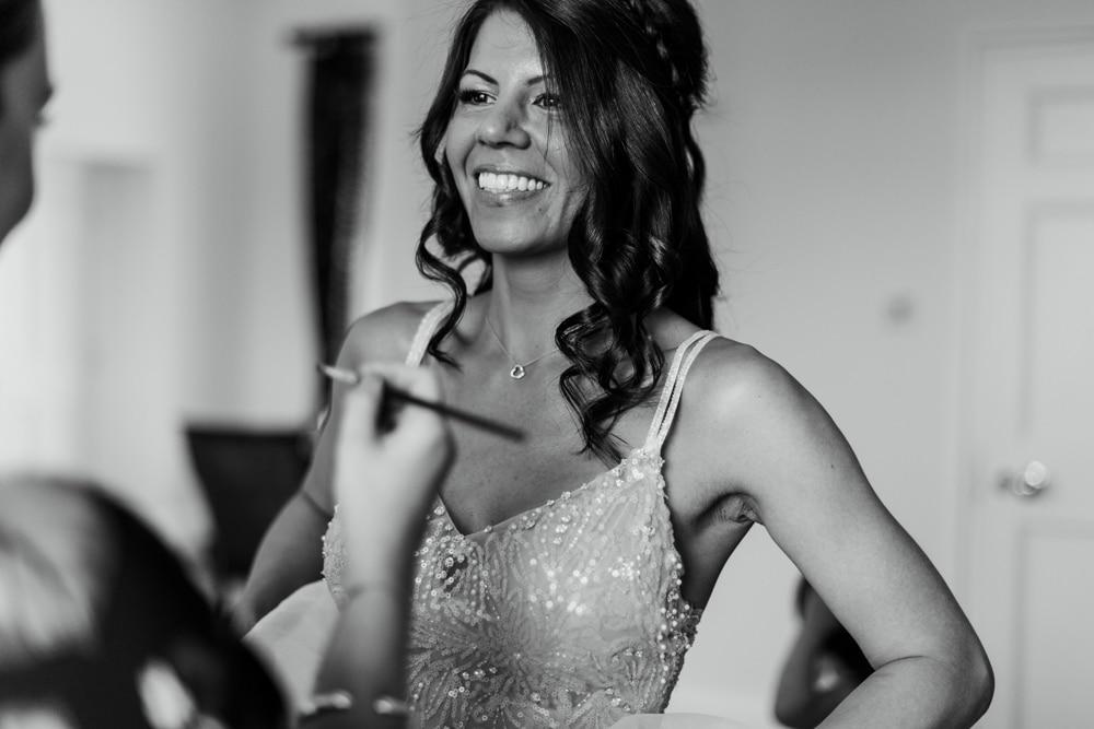 bride in wedding dress at Botleys Mansion Surrey Wedding