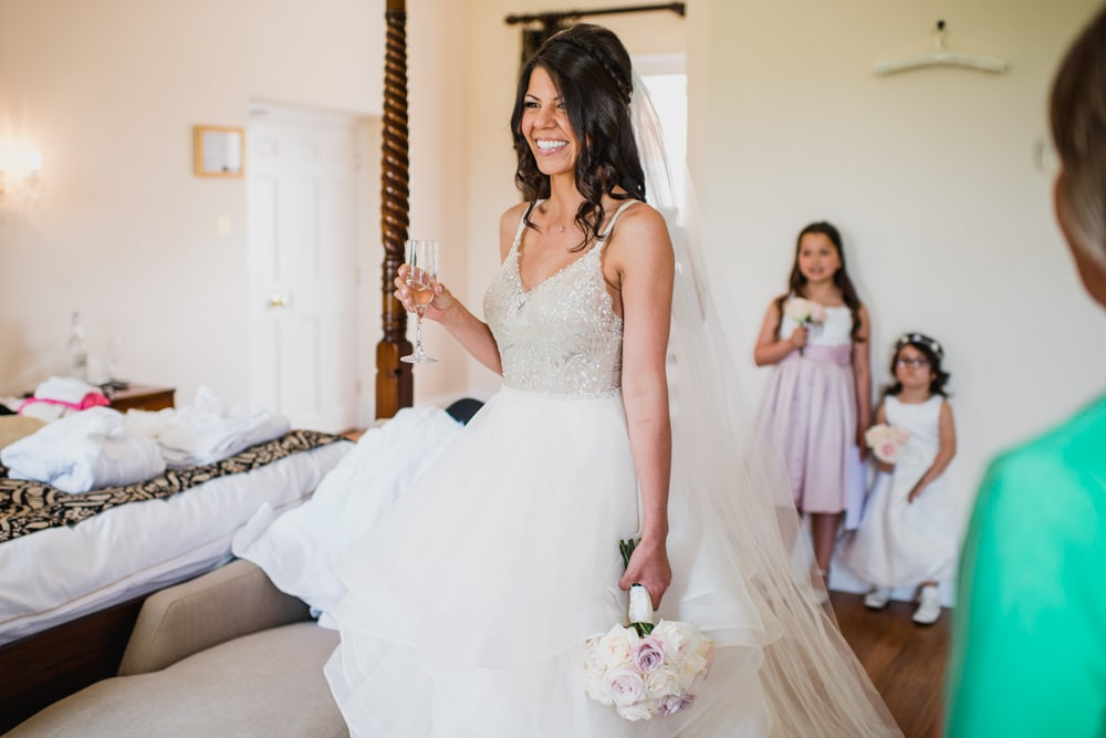 bride in her wedding dress before ceremony