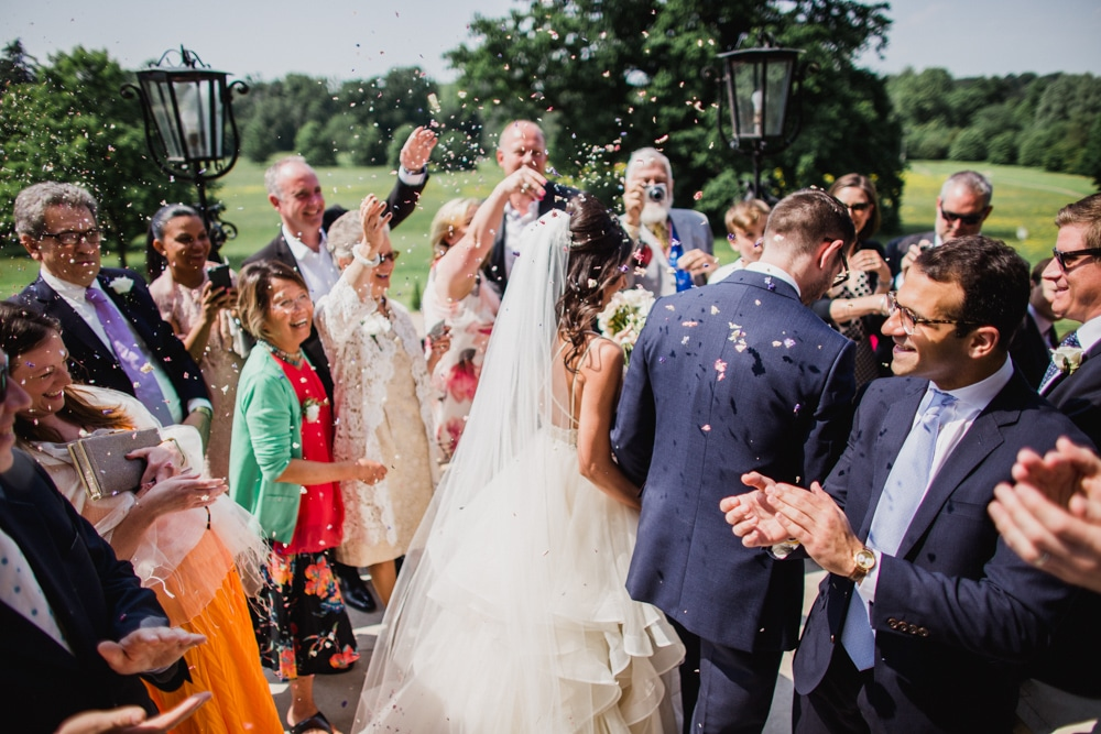 confetti moment at Botleys Mansion wedding