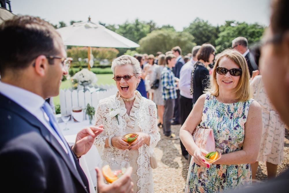 guest enjoying reception at Botleys Mansion