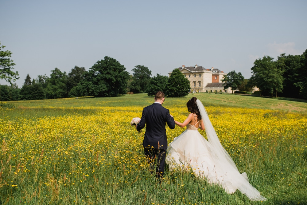 yellow buttercup field at Botleys Mansion wedding