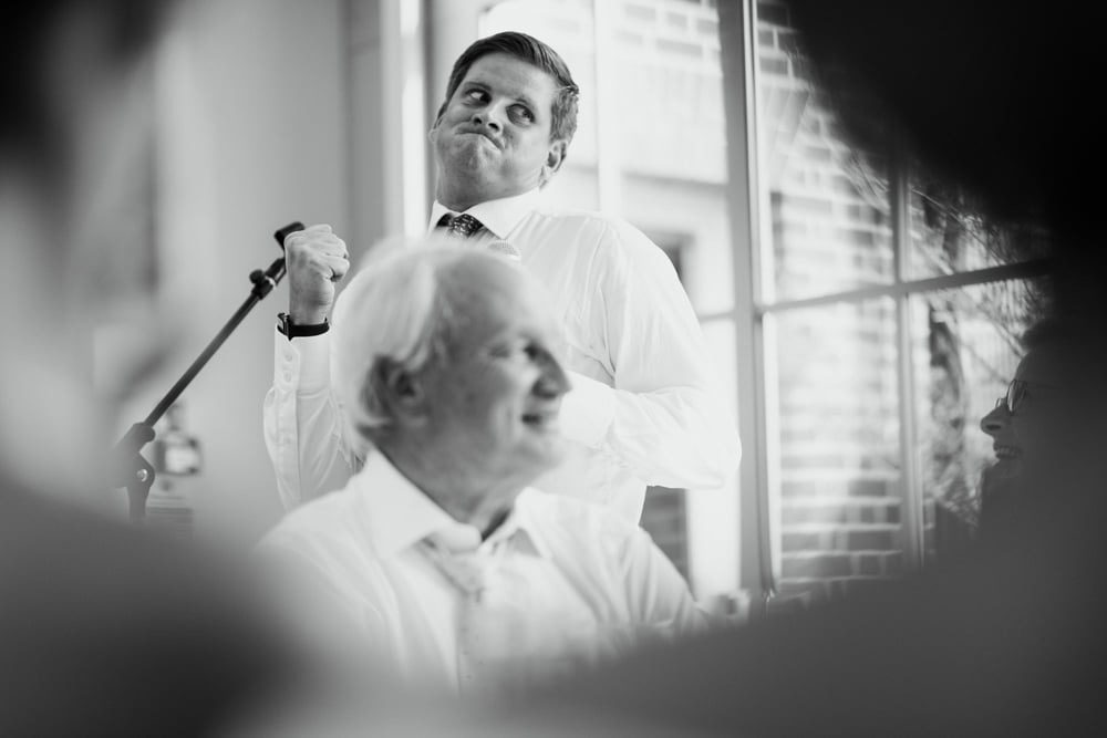 comical facial expression during wedding speech